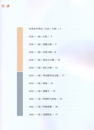 HSK Test Syllabus Level 1 [2015 Edition]. ISBN: 9787107304187